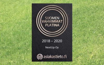 NextUpille Suomen Vahvimmat Platina -sertifikaatti